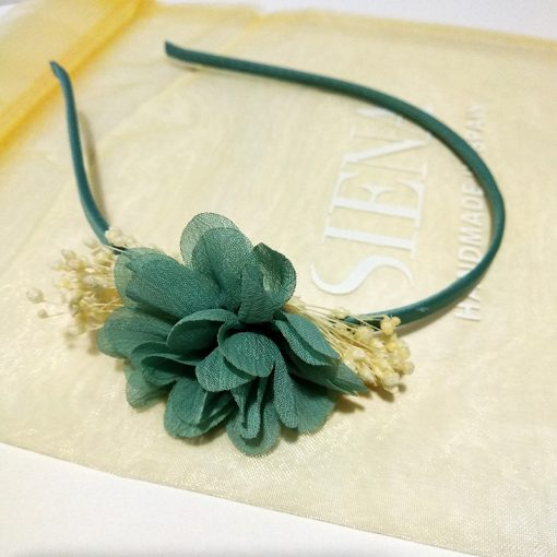 diadema flor verde agua